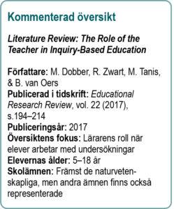 Kommenterad översikt: Literature Review: The Role of the Teacher in Inquiry-Based Education, Författare: M. Dobber, R. Zwart, M. Tanis, & B. van Oers, Publicerad i tidskrift: Educational Research Review, vol. 22 (2017), s.194–214, 2016, Publiceringsår: 2017, Översiktens fokus: Lärarens roll när elever arbetar med undersökningar, Elevernas ålder: 5–18 år, Skolämnen: Främst de naturvetenskapliga, men andra ämnen finns också representerade.