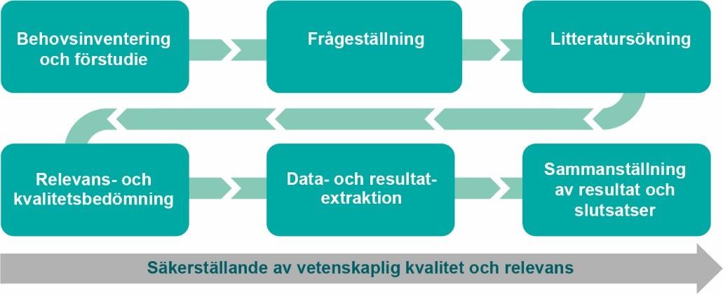 Figur som visar arbetsgången för institutets systematiska forskningssammanställningar
