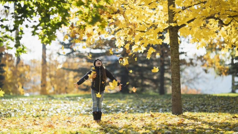 En flicka som kastar löv på hösten