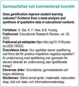 Faktaruta med titel på översikten, författare, publicerad, fokus mm